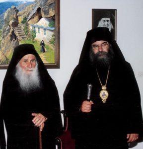 Avec Geronda Joseph devant la Peinture figurant le 'Grand-Père spirituel'